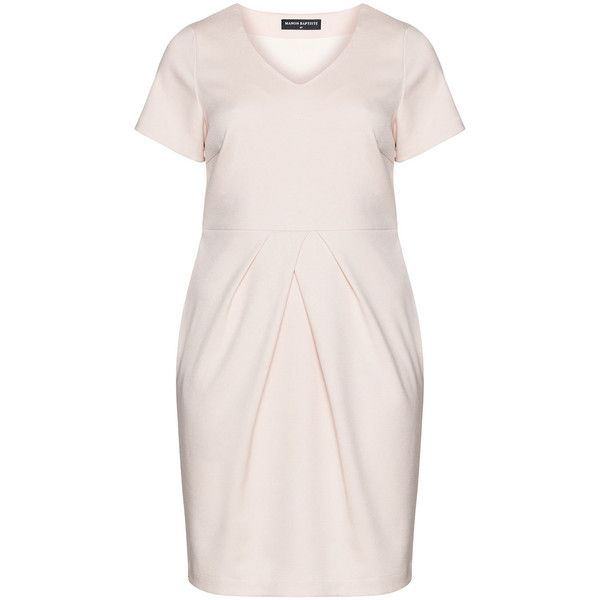 Manon Baptiste Pink Plus Size Pleated shift dress (£130) ❤ liked on Polyvore featuring dresses, pink, plus size, plus size sheath dress, embellished shift dress, plus size knee length dresses, pink knee length dress and shift dress