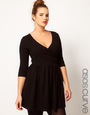 Image 1 of ASOS CURVE Skater Dress With Ballet Wrap And 3/4 Sleeve