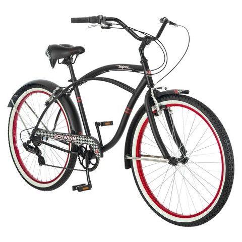 Schwinn Mens Majestic 26 Cruiser Bike Black Red Cruiser Bike Black Bike Shop Cruiser Bike