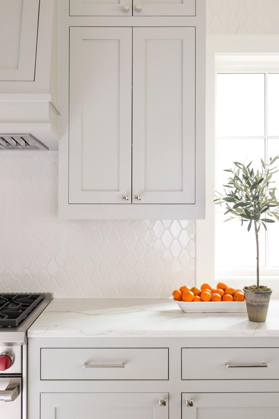 The Diamond Shaped Backsplash Adds An Element Of Subtle Modern