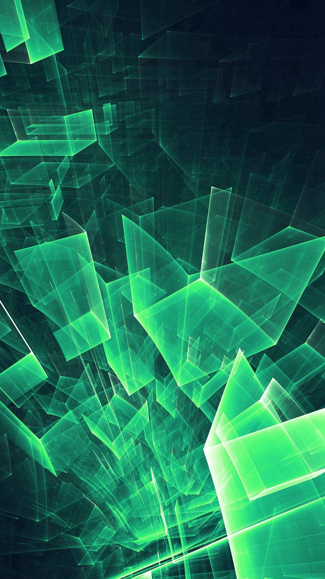 Wallpaper iphone green - Abstract Blue Green Cube Pattern Iphone 7 Wallpaper