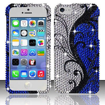 Blue+Silver+Floral+Bling+Gem+Jeweled+Crystal+Cover+Case+for+Apple+iPhone+5C+U78T