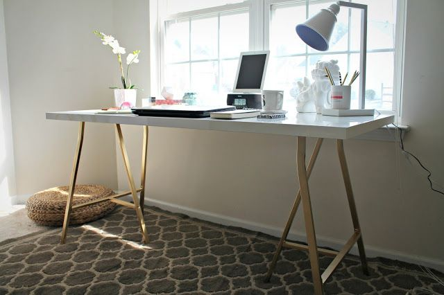 Ikea Hack White Table Top With Gold Legs Bought These Pieces To Copy For 2 Desks In Lounge Ikea Office Furniture Ikea Office Table Office Desk Designs