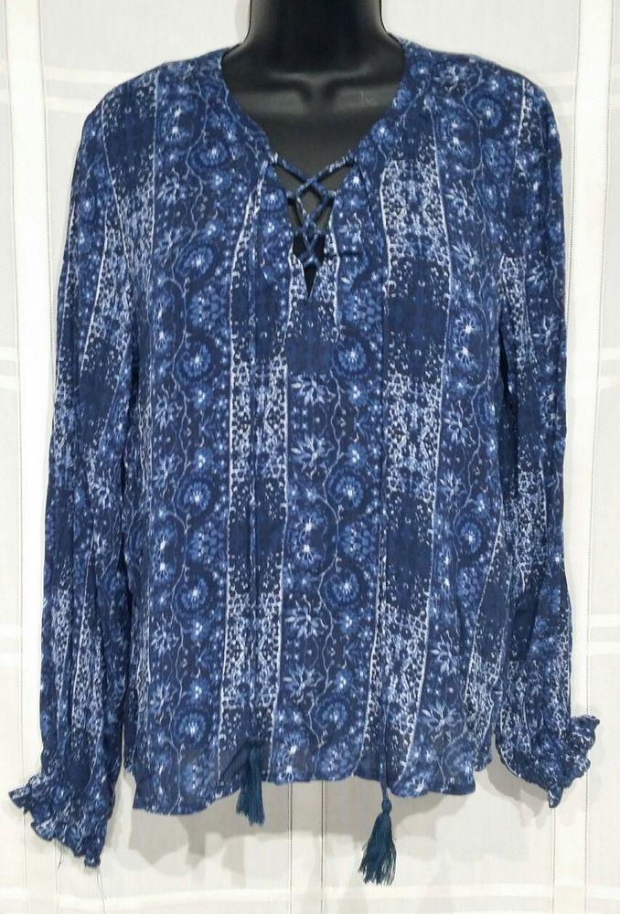 89b9b032ba0 Womens rue 21 Shirt Medium Lace up V neck Blue Boho Hippie Long sleeve  Peasant  rue21  Blouse  Casual
