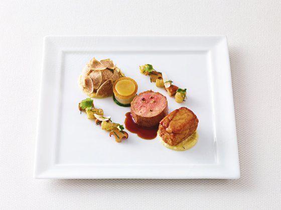 White truffle veal blanquette, polenta taragna, crosnes - Daniel Boulud.