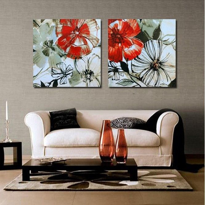 Paint By Numbers Free Shipping Wall Art Red Flowers Canvas Art