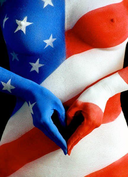 Usa American Patriot Red White Blue Style Body Art Painting Body Painting Body Art