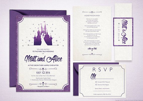 Fairytale wedding disney wedding invitations customised wedding invitations disney castle disney wedding