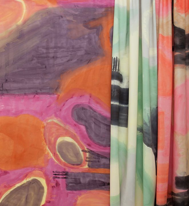 Silk Scarf fabric in Alizarin, Phthalo, and Cadmium. Designed by Kelly Porter of Porter Teleo