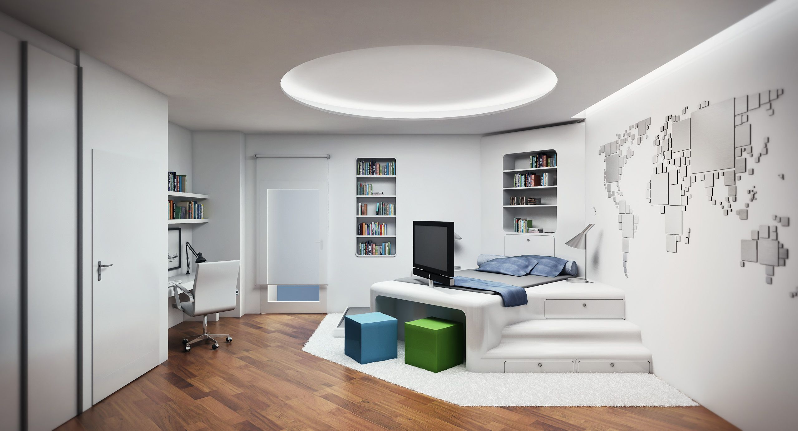 Living Room Interior Comfortable With Cool Circle Hidden Lamp Laminated Wooden Floor White Wall Modern Architecture