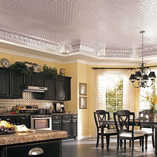 Kitchen decor, Kitchen designs, Kitchen decorating ideas - Black cabinets! Sweet ceiling