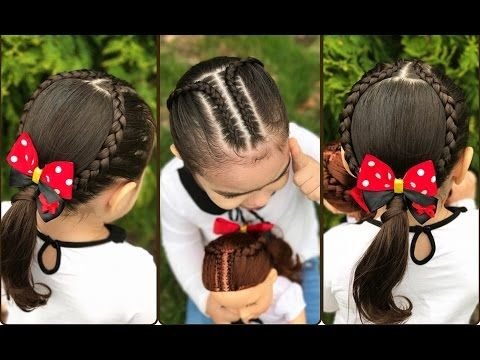 Peinado para ni as con ligas y trenzas de medio lado - Peinados faciles y rapidos paso a paso ...