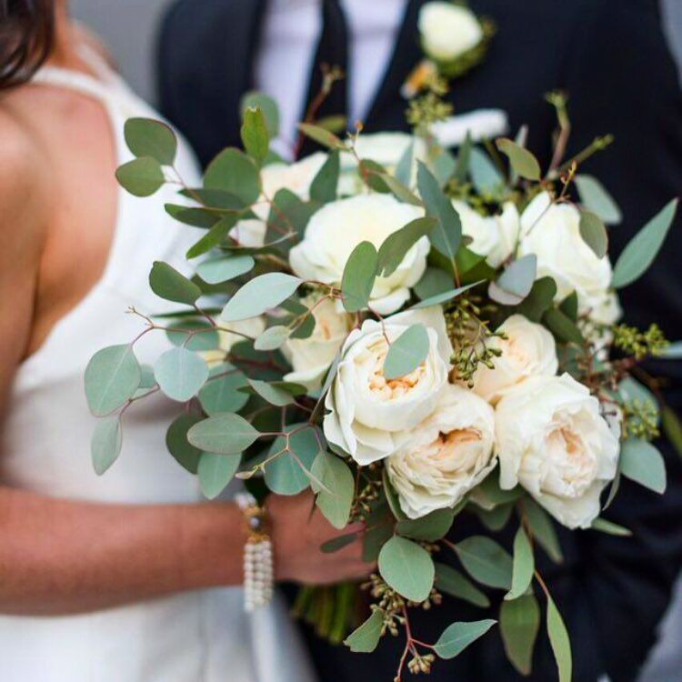 Our last bridal bouquet of the year has gorgeous white garden roses and lots of eucalyptus | LILLA BELLO