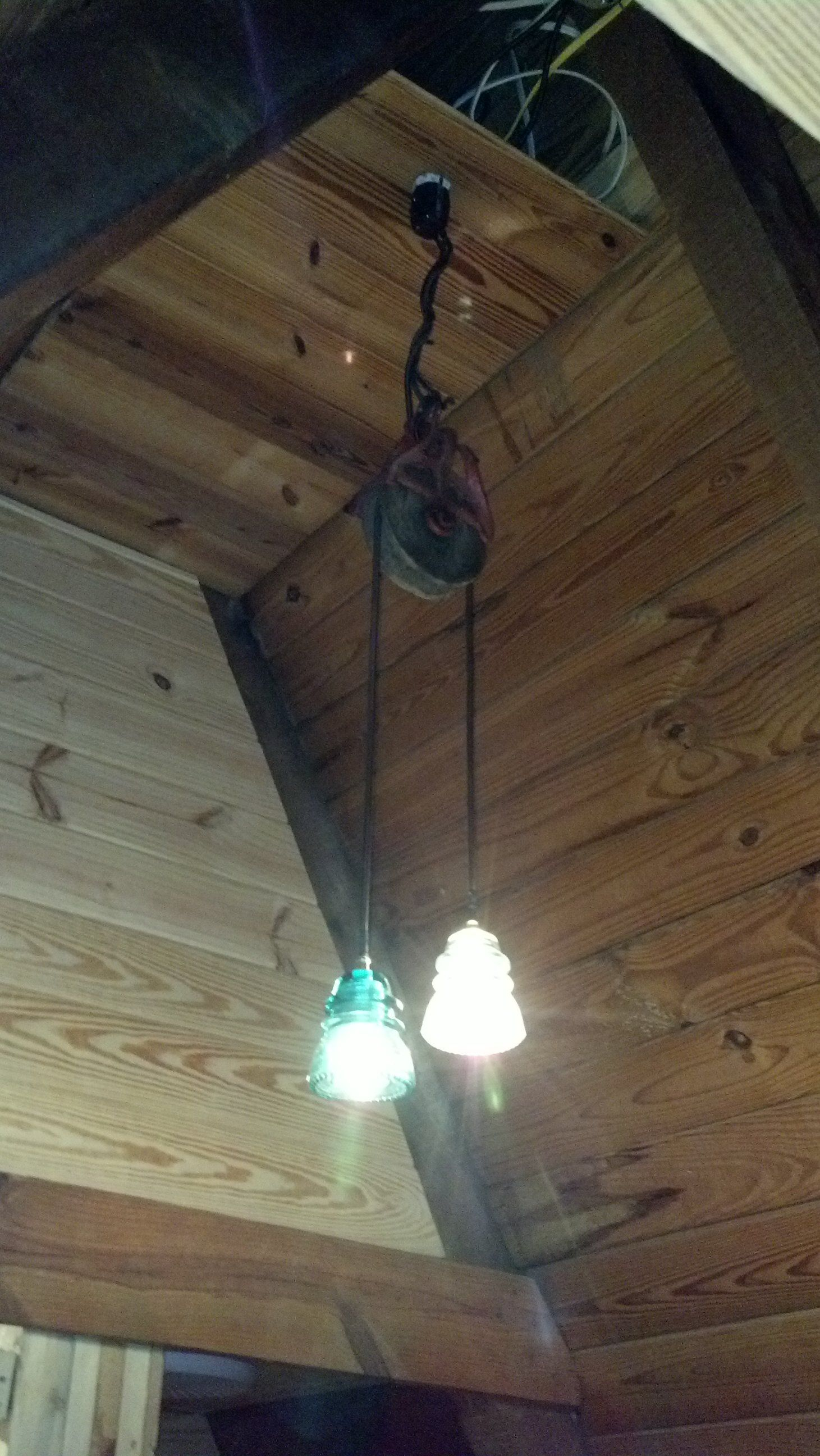 My Husband Made This Pulley Light For The New Bathroom In Our A Wiring Frame Reno From Antique 2 Vintage Insulators Kit Cloth Covered