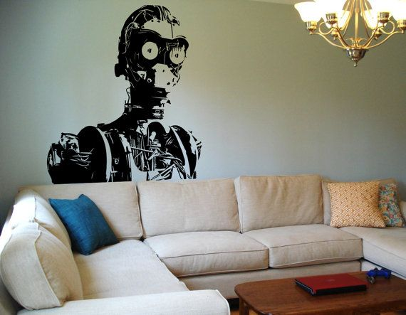 Star wars wall decal c3p0 naked sticker vinyl decal c 3po c3po wall art room