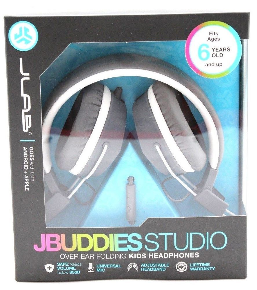 6e89e62d843 JLab JBuddies Studio Folding Over-Ear Headphones for Kids, Gray/White #JLAB