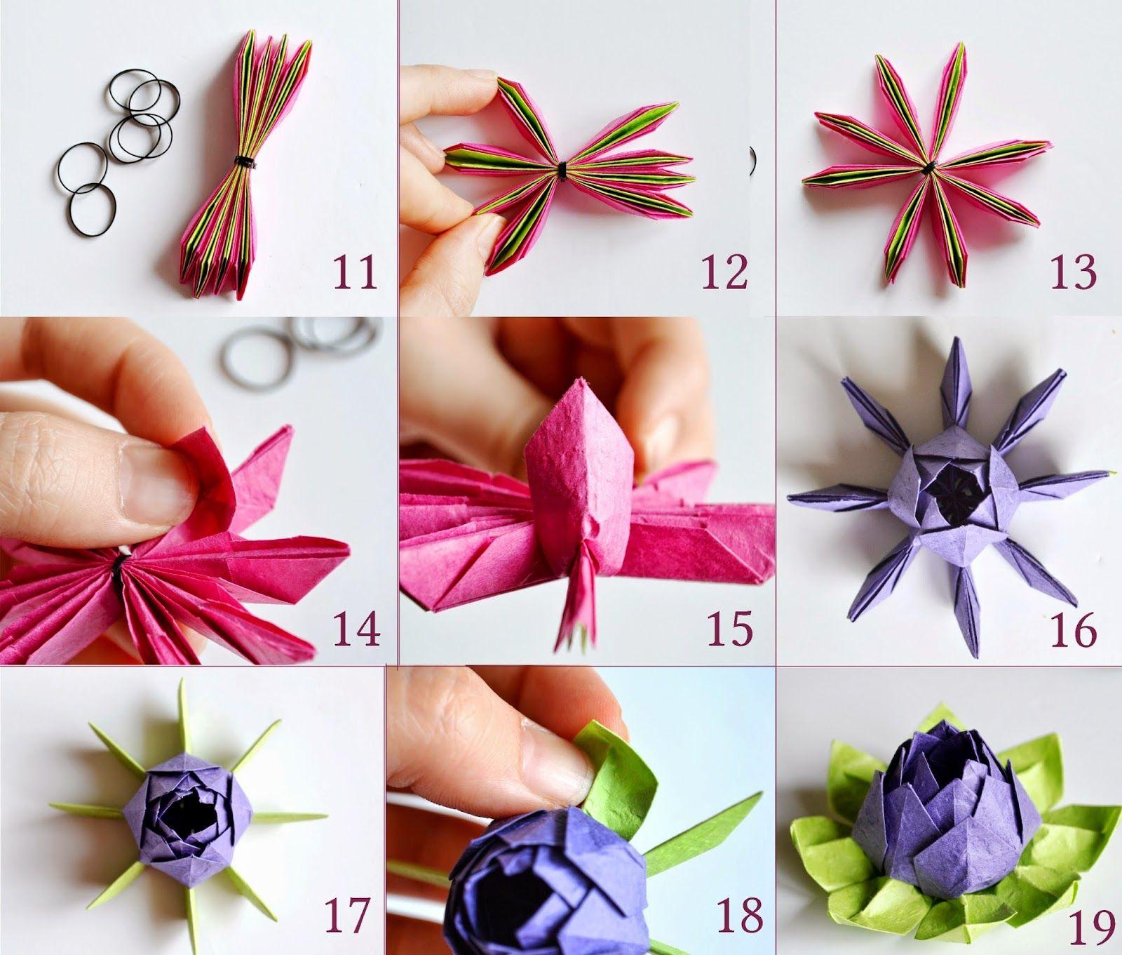 Origami Lotus Flower Tutorial Diy Pappersblommor Pinterest