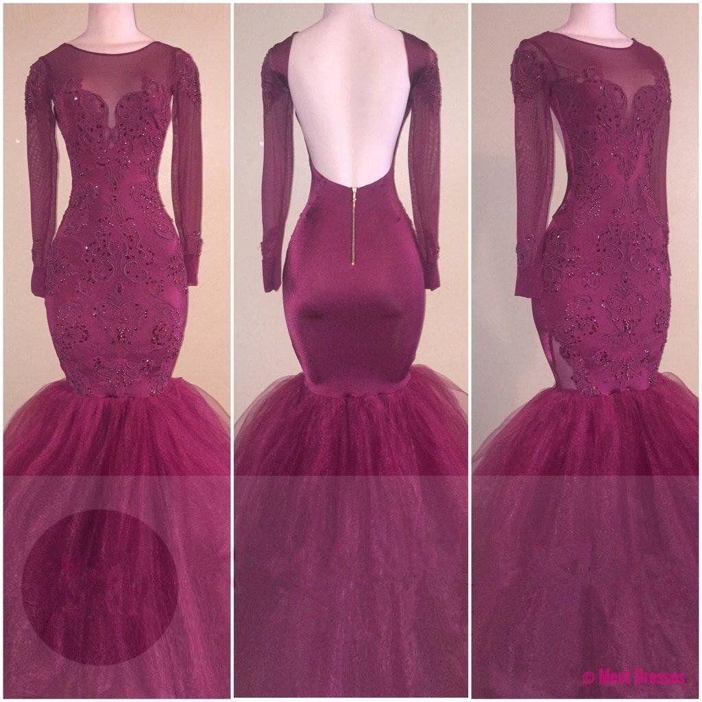 Backless long sleeves burgundy mermaid appliques sideslit prom