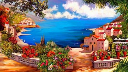 Lovely Lake View Painting Art View Pier Lake Peaceful Town Beautiful Houses Coast Village Picturesque Lake View Picturesque Wallpaper