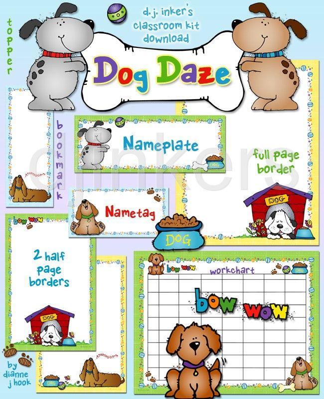 Classroom Decor Dogs ~ Dog daze classroom printables borders decor