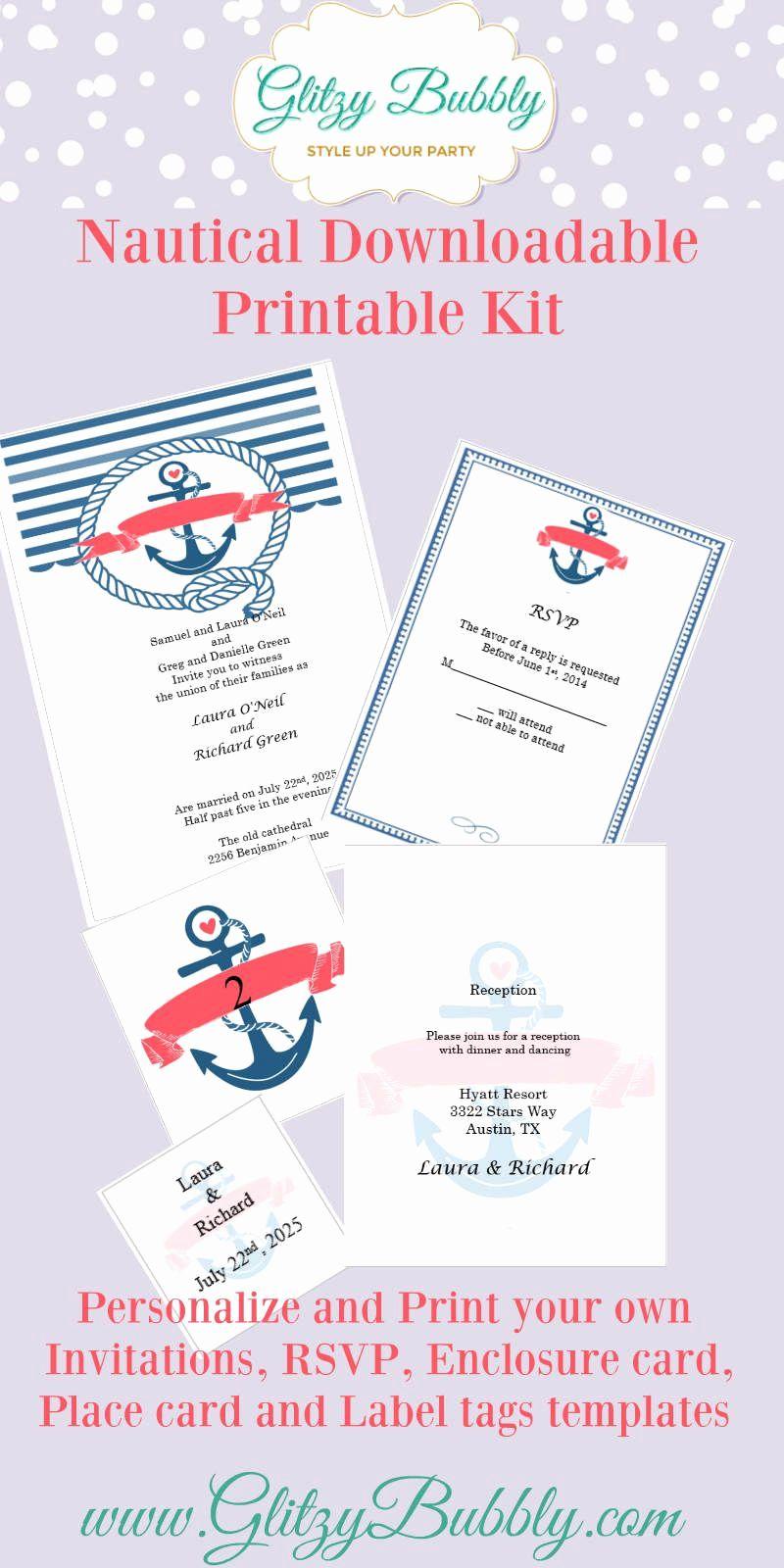 Free Nautical Invitation Templates Inspirational Download Your Free Nautic Nautical Wedding Invitations Nautical Invitations Nautical Theme Wedding Invitations