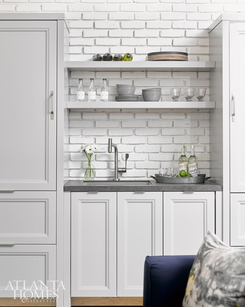Kitchens with painted white brick | Grey kitchen cabinets ... on ideas for decorating brick, tips for painting brick, ideas for stucco, ideas for owl diaper cake, ideas for brick fireplace makeover, ideas for old window, painting your fireplace brick, ideas for landscaping brick,