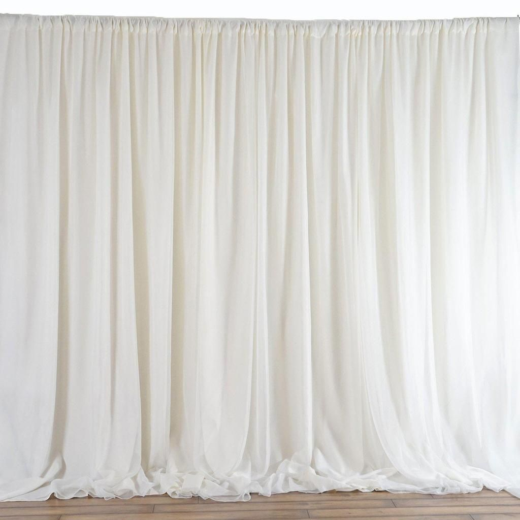20ftx10ft Ivory Double Layer Polyester Chiffon Backdrop With Rod