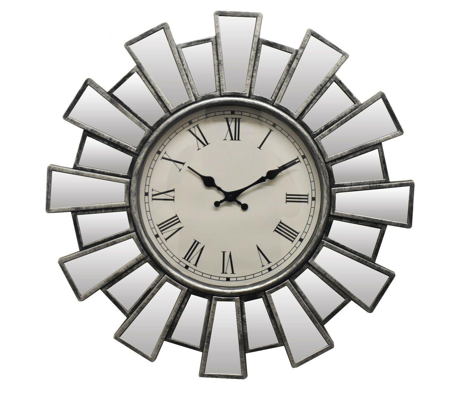 Silver And Mirror Sunburst Clock With Roman Numerals Clock Ideas Of Clock Clock Silver And Mirror Sunbur In 2020 Sunburst Wall Decor Wall Clock Sunburst Clock