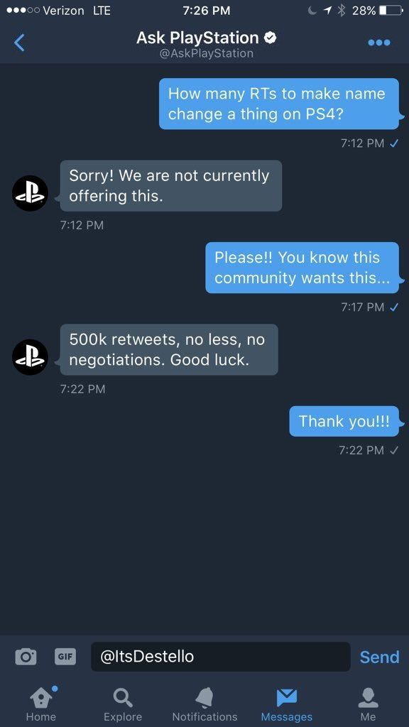 500K retweets and Sony will try to implement PSN name changes