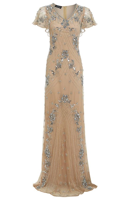 Lucy Beaded Nude Flapper, 1920s Great Gatsby Inspired, Floral Dress ...