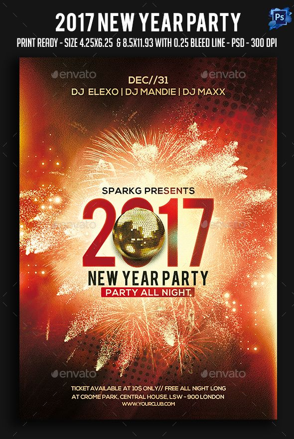 2017 New Year Party Flyer Party flyer, Flyer template and Graphics - new year brochure template