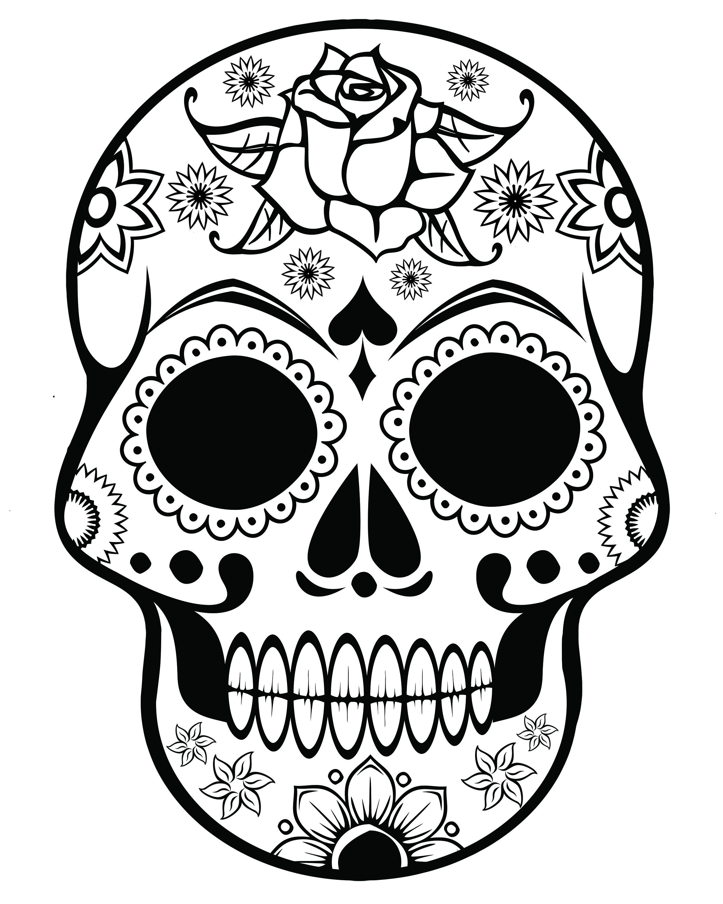 Free Printable Halloween Coloring Pages For Adults Sugar Skull With Ornate Flowers Skull Coloring Pages Skull Stencil Skull Template