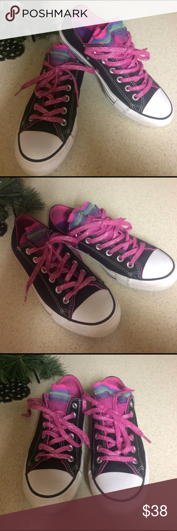 Converse Beautiful Converse Sneakers, Rainbow Fishnet, black with pink/glitter laces. Worn twice, still looks new. Converse Shoes Sneakers