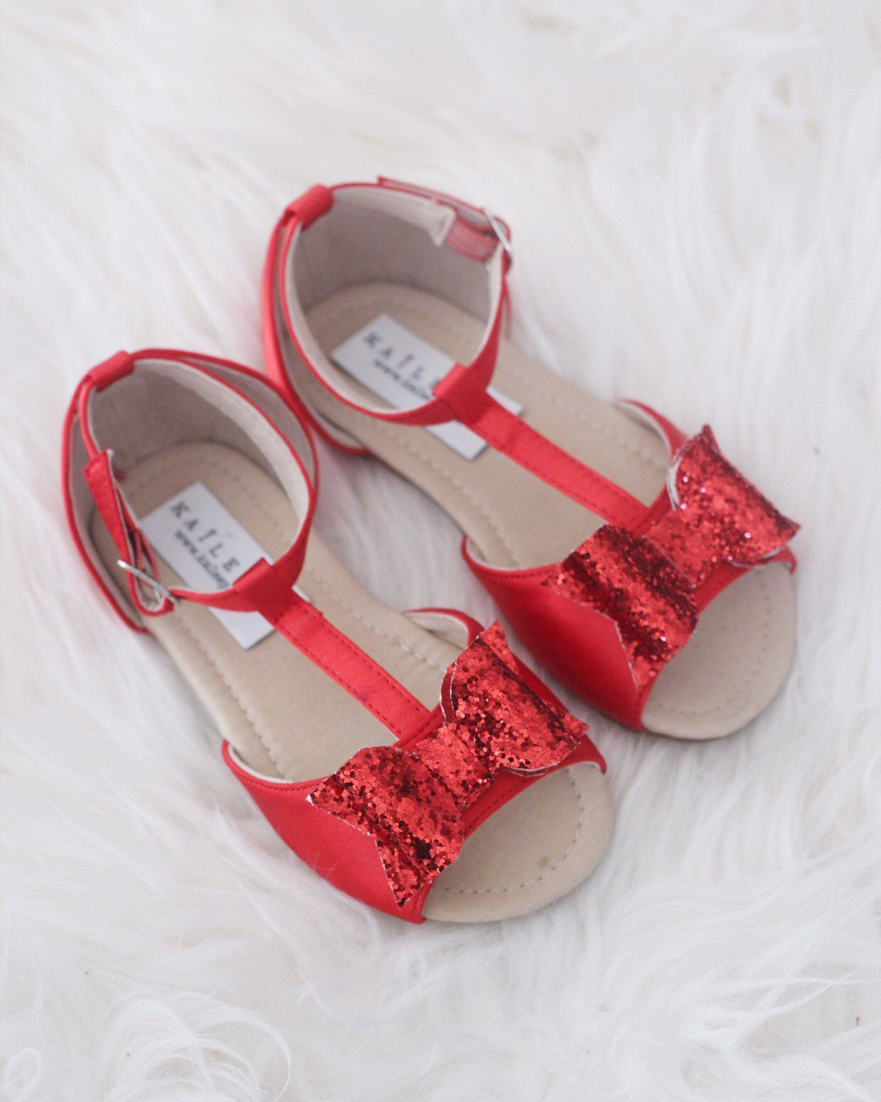 8c791efdc05c Excited to share this item from my #etsy shop: RED Satin T-strap Flats with  Rock Glitter Bow - for flower girls, toddler girls shoes