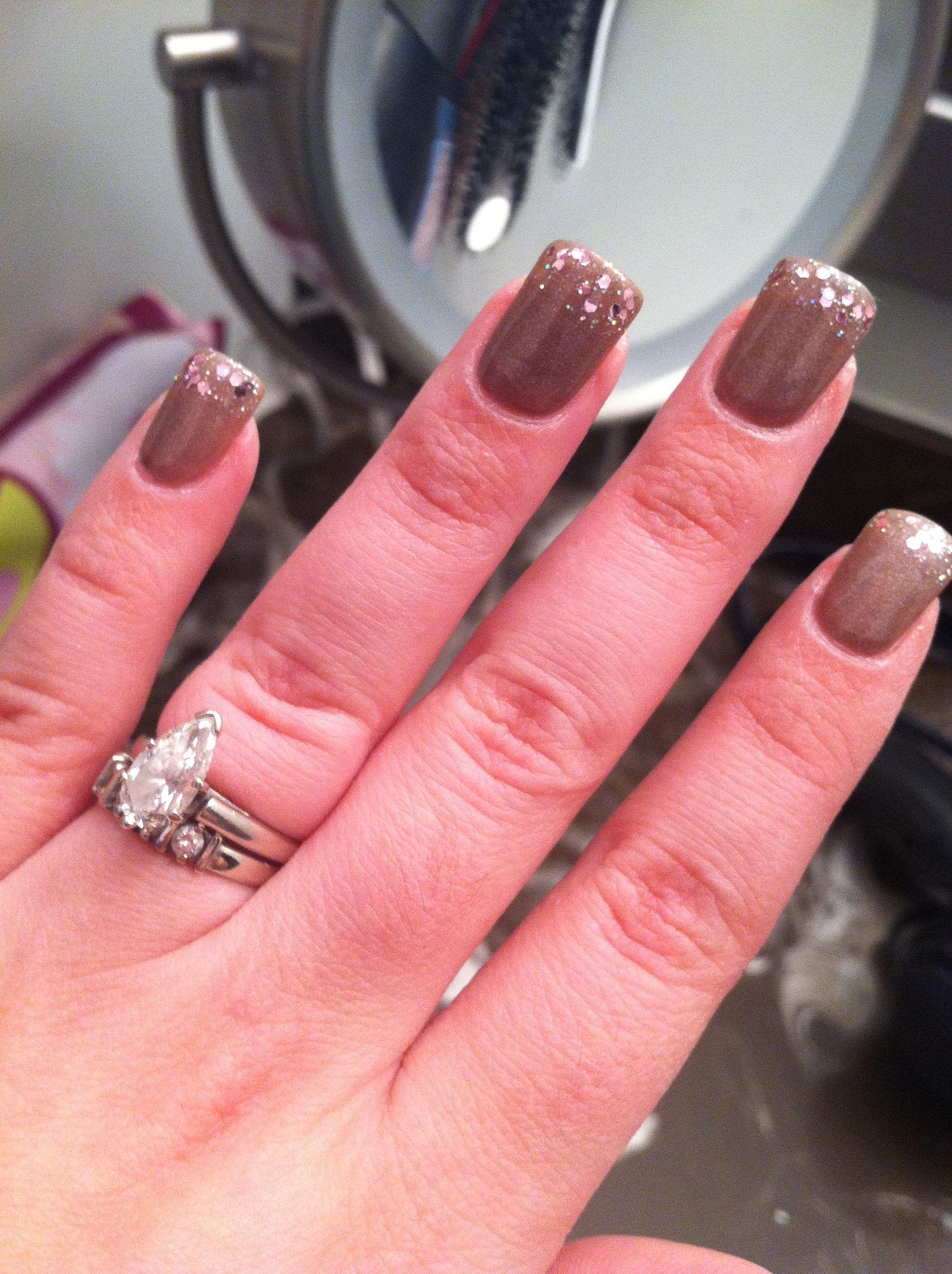 Essie Mocachino, under OPI Pink Yet Lavender (tip). Great combo ...