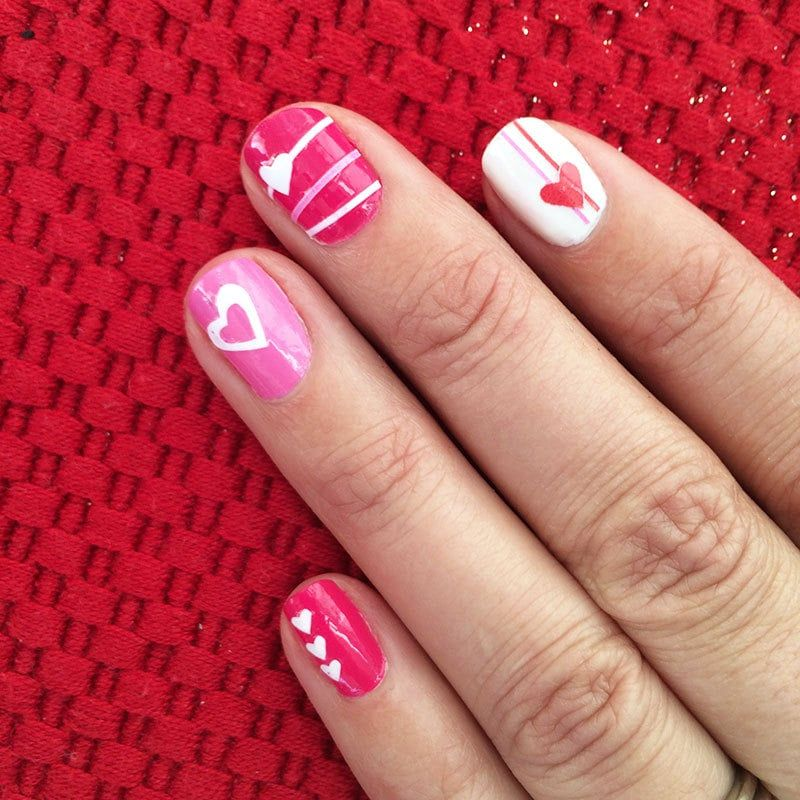 Love heart nail art with your cricut heart nail art