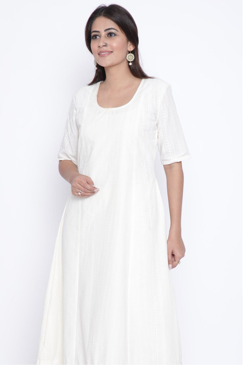 5204ca088ff OffWhite Self Print Anarkali in 2018
