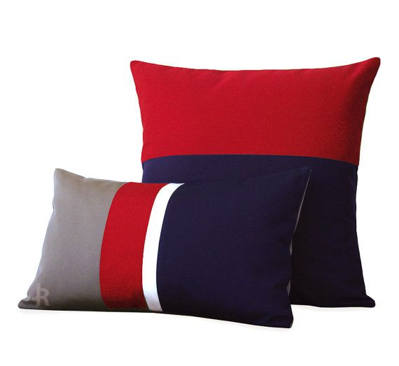 OUTDOOR Colorblock Pillow Set of 2 - Gray, Red, White & Navy ...