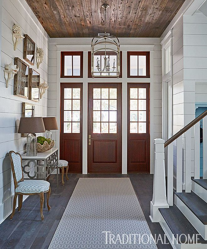 The Foyer Features Shiplap Walls And Reclaimed Pecky