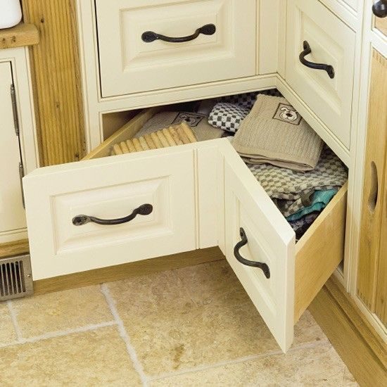 space-saving kitchen corner drawers a set of v-shaped drawers