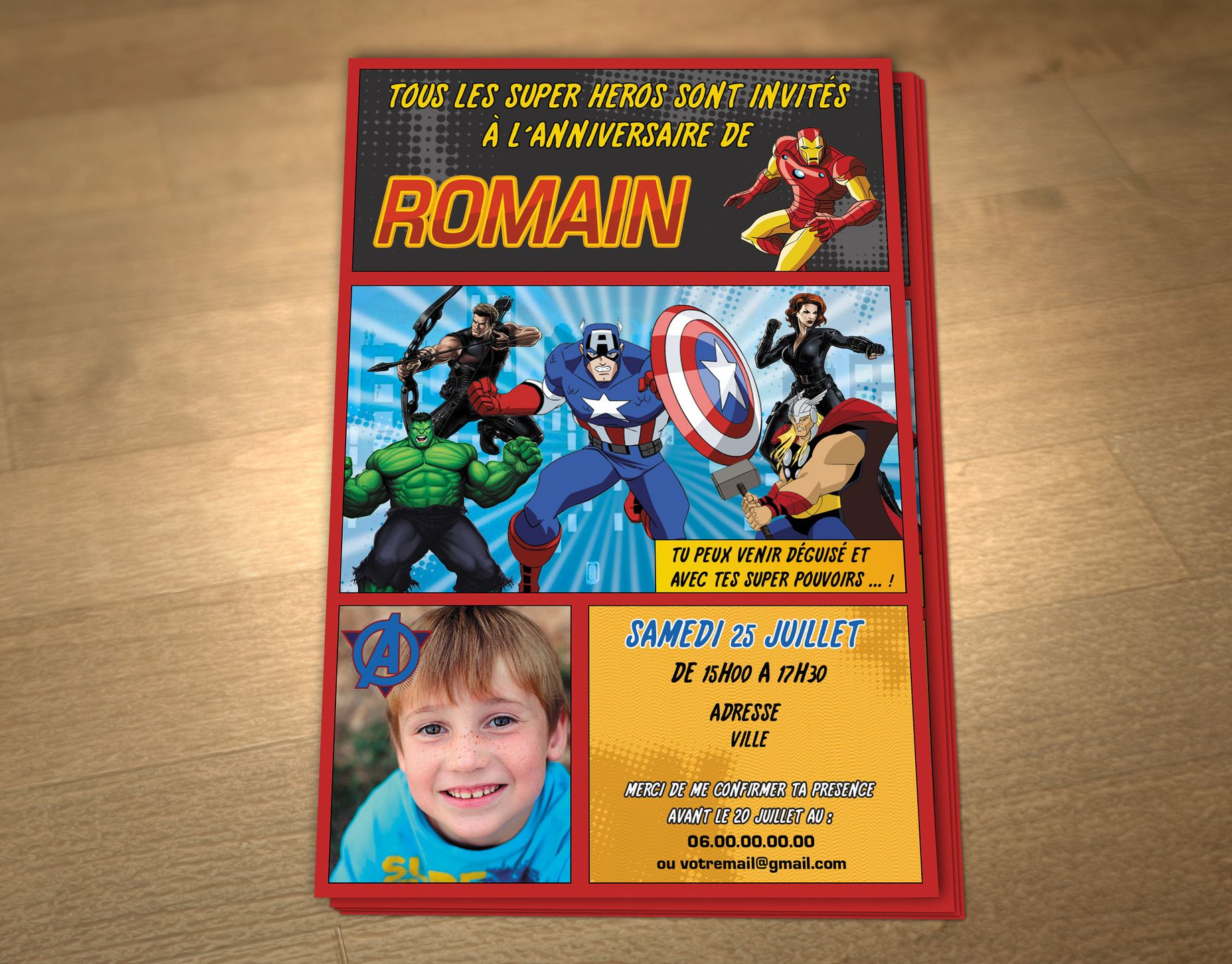 Personalized printable birthday invitation theme Super Hero