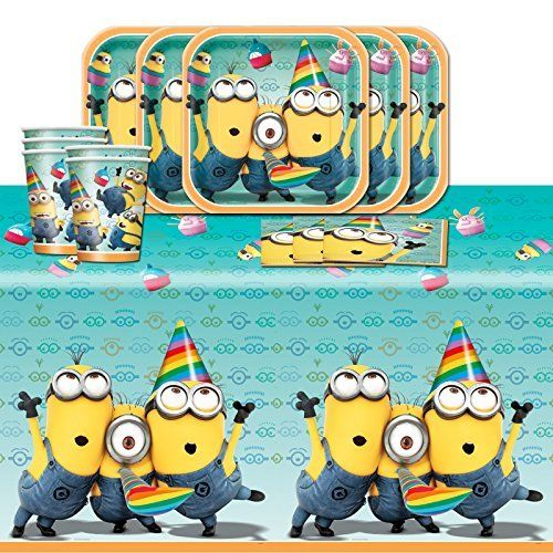 Despicable Me 2 Minions Childrens Birthday Complete Party Tableware Pack For 16 Click I Childrens Birthday Childrens Birthday Party Birthday Party Tableware
