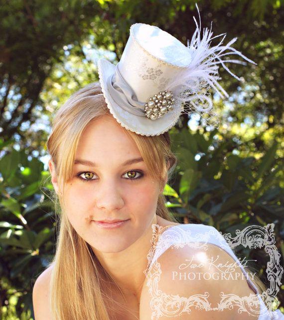Divine Hat Designs, Mini top hat, Mini top hats, Divine Hat designs, Custom mini top hat, Bridal mini top hat, mad hatter hat, alice in wonderland wedding, steampunk top hat, mad hatter tea party, mad hatter bridal shower, ivory mini top hat, steampunk top hat, steampunk mini top hat, mad hatter hats, carnival mini top hat, circus mini top hat, Victorian mini top hat, cosplay mini top hat, cosplay, ring leader, wedding top hat, groom top hat