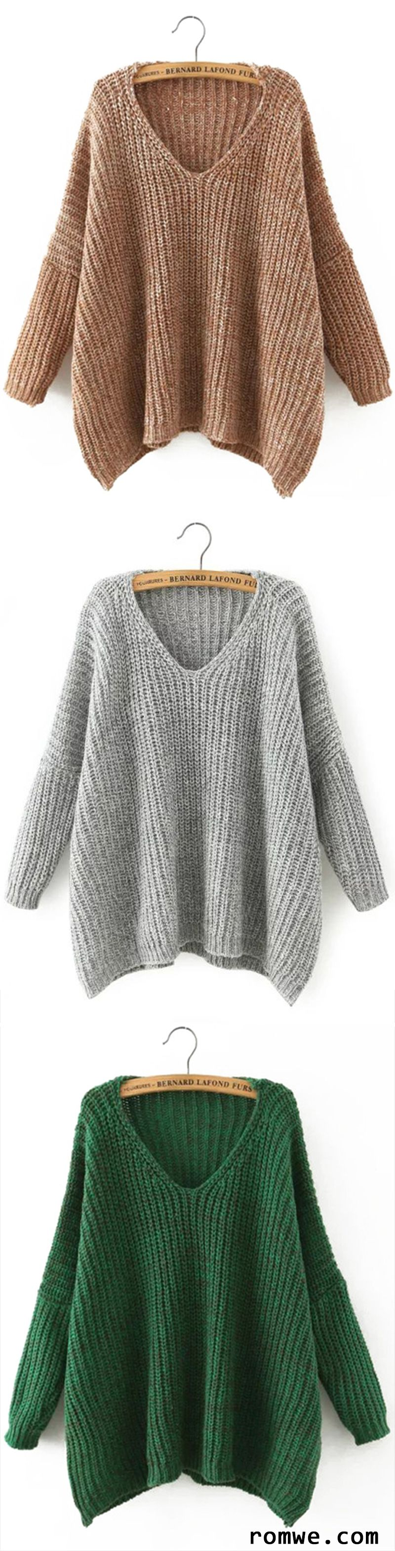 V Neck Batwing Sleeve Loose Sweater | Romwe Hot Buy | Pinterest ...