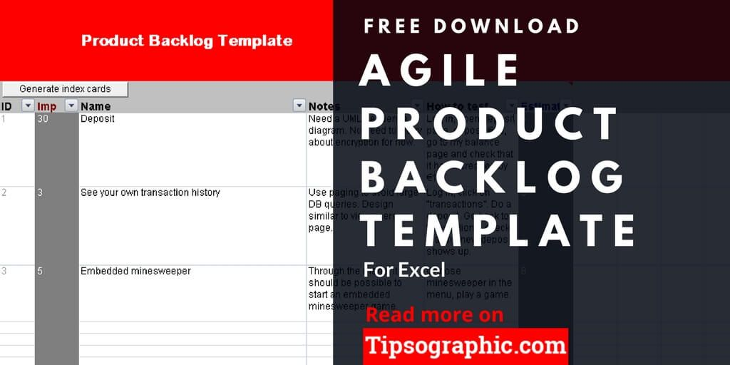 Agile Product Backlog Template for Excel, Free Download Project