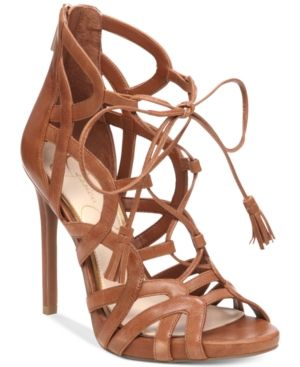 04e71c95d93 Jessica Simpson Racine Lace-Up High-Heel Gladiator Sandals - Brown ...