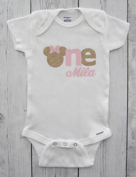 Minnie Mouse First Birthday Onesie in pink and gold- girl birthday ...