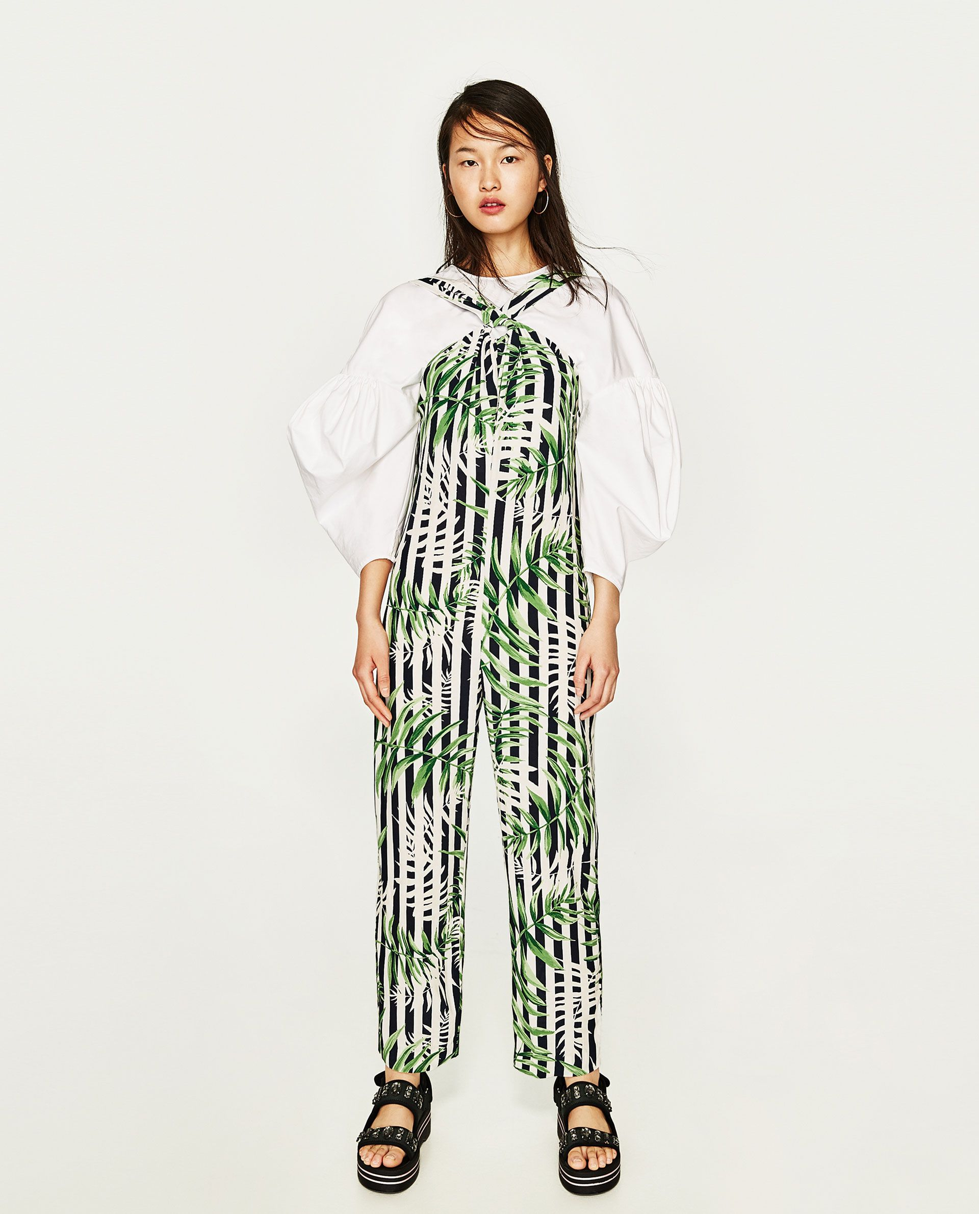 14e50a1ff93 Image 1 of LEAVES PRINT JUMPSUIT from Zara