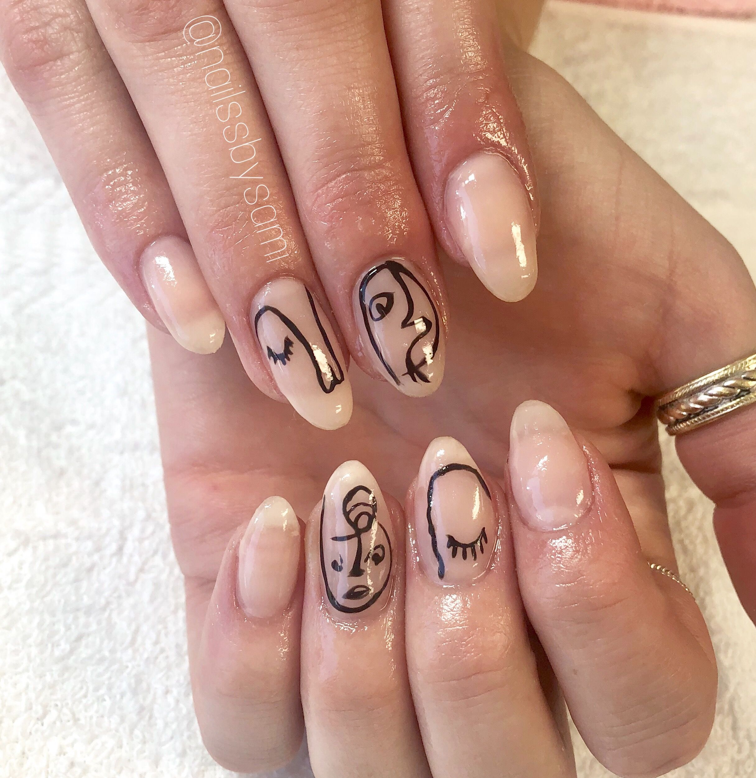Abstract Faces Nail Art Stylish Nails Art Abstract Nail Art Nail Art