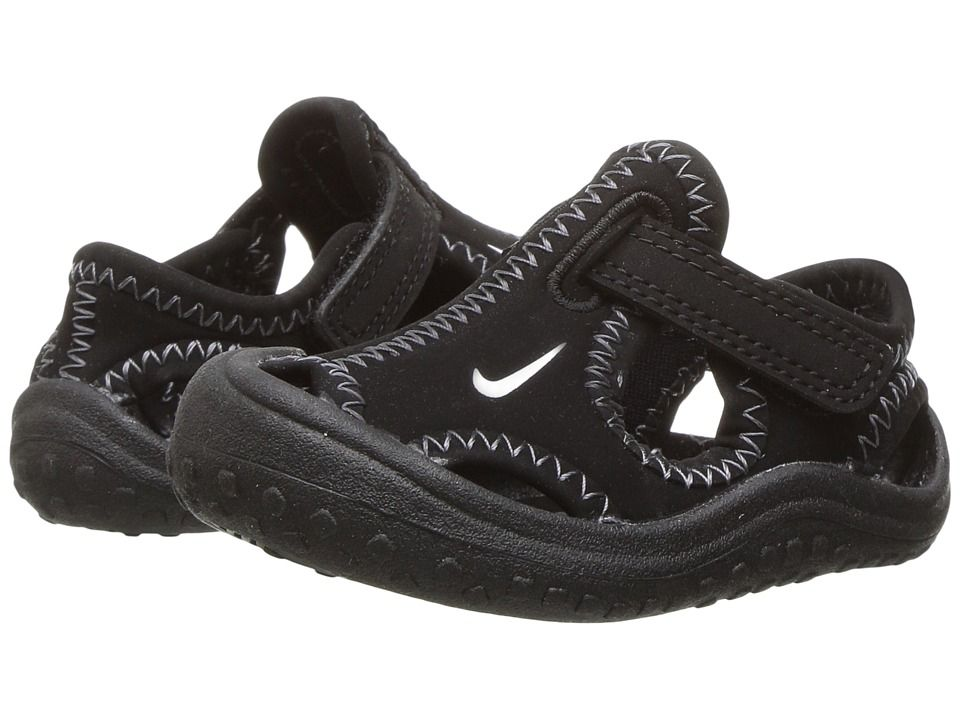 1a738937a6102 Nike Kids Sunray Protect (Infant Toddler) Boy s Shoes Black White ...